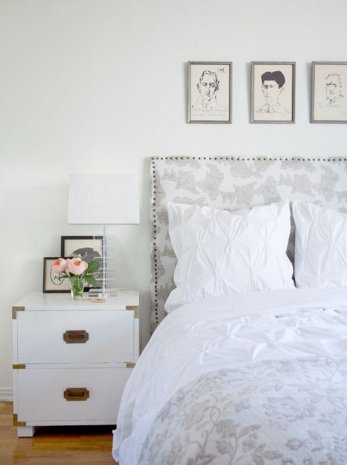 love this headboard: Campaign Nightstand, Dream, Bedside Tables, Bedrooms, Master Bedroom, White Bedroom, Night Stand, Bedroom Ideas