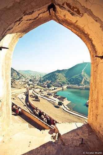 The elephant passage at Amber Fort in Jaipur, India. Have actually been up here on an elephant!