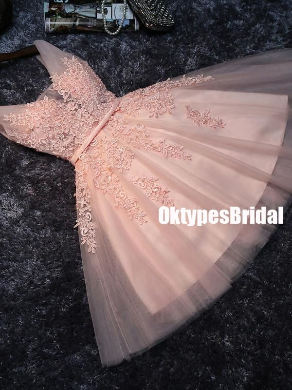Cheap V Neck Homecoming Dresses, Peach Lace Beaded Cute Homecoming Dresses, Cheap Homecoming Dresses, TYP0050