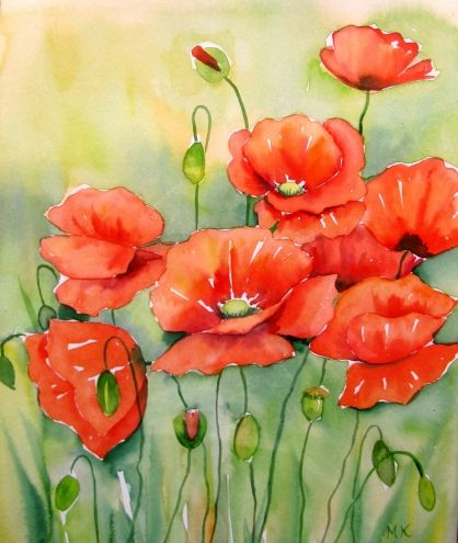 """ Red Poppies in Watercolor"" © ... by Meltem Kilic"