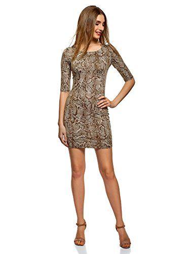 c5411270e22 oodji Ultra Women s Bodycon Jersey Dress Beige UK 12   EU 42   L ...