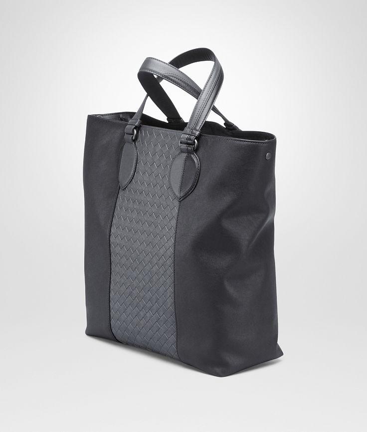 Bottega Veneta® - ネロ ミディアムグレー イントレチャート ウォッシュド ナッパ トート