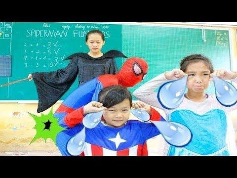 Spiderman  AT SCHOOL Class Learn English Alphabet Song Nursery Rhymes - ...