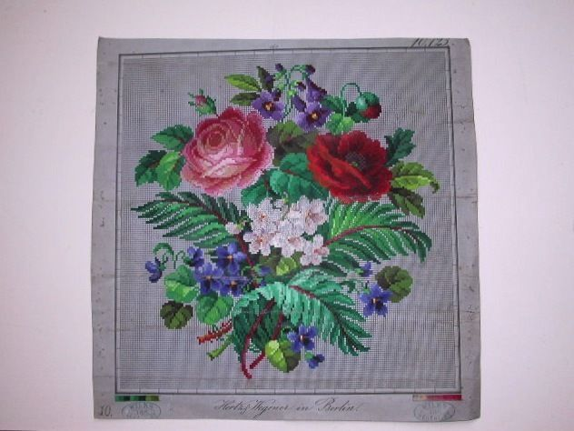 PRETTY ANTIQUE HAND PAINTED BERLIN TAPESTRY PATTERN. ROSES, VIOLETS ETC.