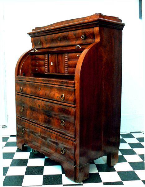 Vintage Kommoden - Biedermeier Sekretär Rollbureau 1840 Mahagoni - ein Designerstück von Antike-Schatzkiste bei DaWanda