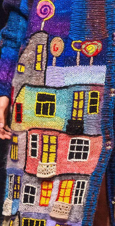 Купить или заказать Пальто 'Вечерний Хундертвассер' косоворотка в интернет-магазине на Ярмарке Мастеров. Пвльто выполнено вручную из пряжи Норо. Хундертвассер - австрийский гениальный архитектор, его дома как детские рисунки и на крышах его домов всегда растут деревья, трава, цветы и кустарники. Ему посвящаю еще один блок в моей коллекции. Также как у Гауди нет ни одной 'правильной' -прямой линии, его изгибы домов, этажей, так подходят к моему пэчворку...))))...вечер, в доме з...
