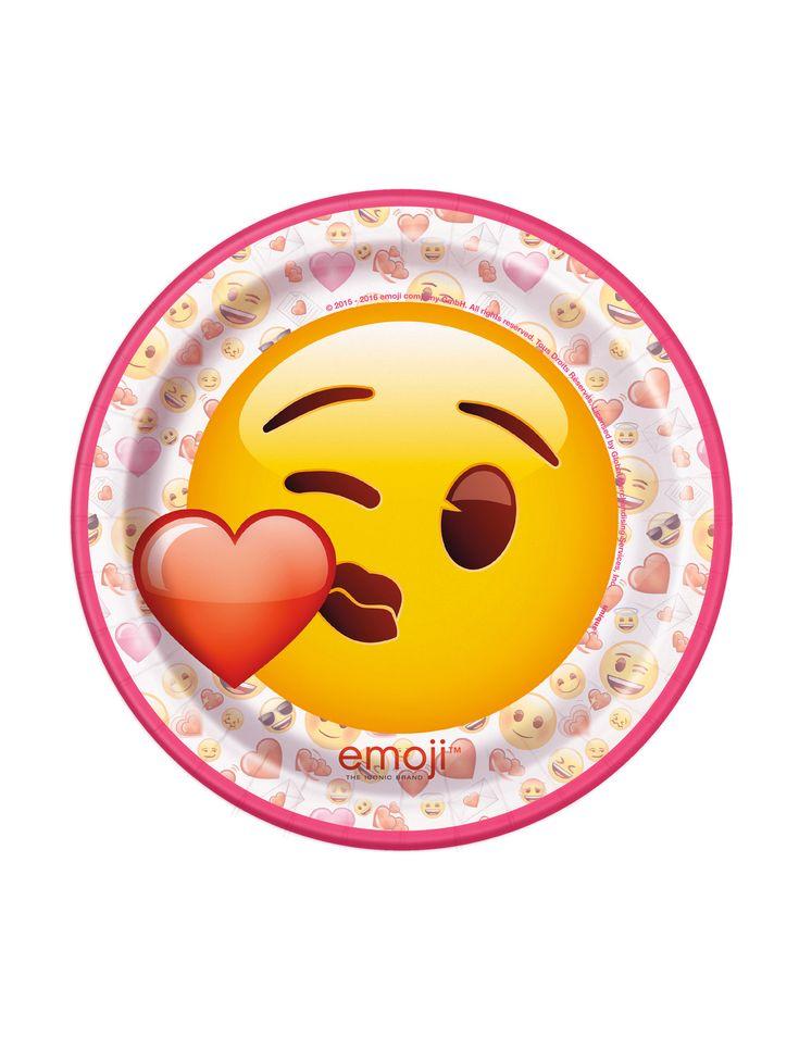 8 Platos pequeños de cartón Emoji™ 17,5 cm: Este paquete incluye 8 platos pequeños de cartón con licencia oficial Emoji™.Son redondos con contorno rosa y emoticonos. El diámetro es de 17,5 cm.En el centro hay un...
