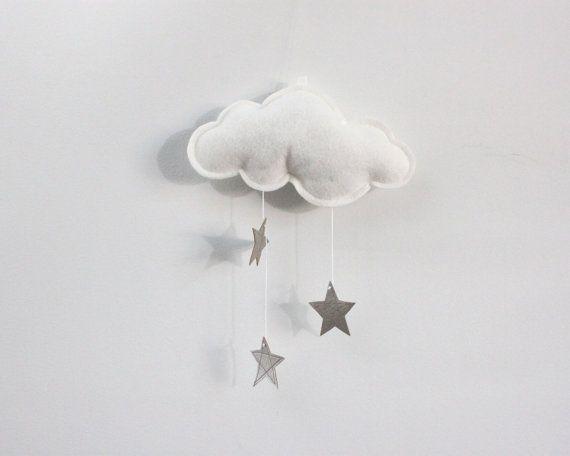 Wall Hung Cloud con stelle d'argento e bianco di BabyJivesCo