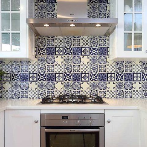 """Love your kitchen! One of our beautiful blue and white mixed sets in a design by @divinerenovations"" Photo taken by @old_world_tiles on Instagram, pinned via the InstaPin iOS App! http://www.instapinapp.com (04/30/2016)"