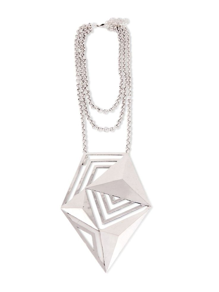Sterling Silver Oversized Geometric Pendant Necklace