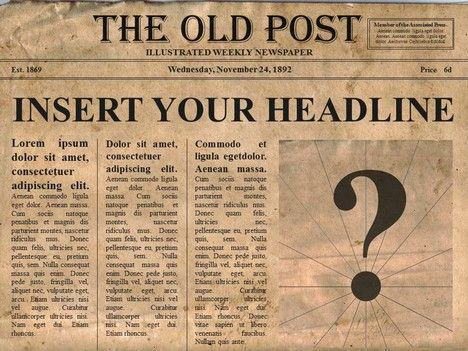 Editable old newspaper template - One of a number of nice templates from Presentation Magazine.