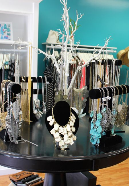 I would totally do this if I had the space! No more tangly necklaces, and you can SEE all your jewelry. Mabe someday :)