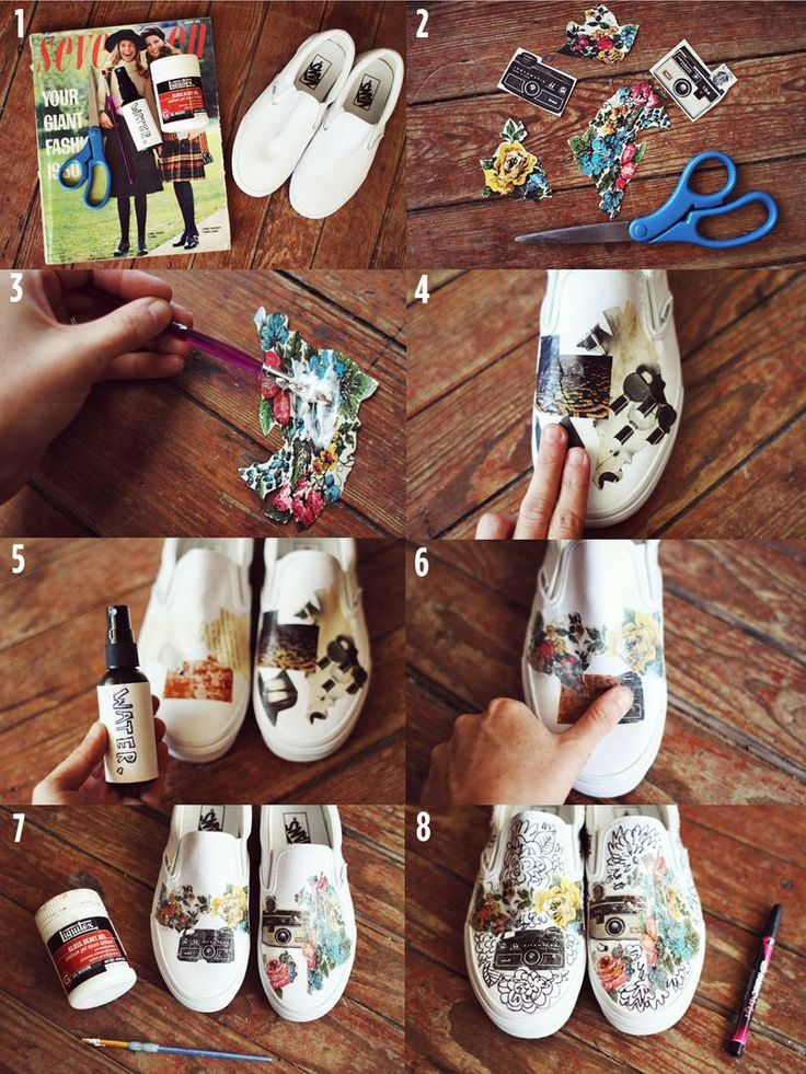 Image Transfer On Shoes. This article is using gel medium to transfercolor magazine pages. That would leave a thin coating on the canvas. A thin protective coating can be used on these Sharpied shoes