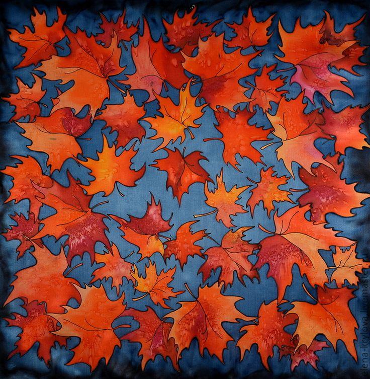 Купить Шелковый платок батик Красный клен - рисунок, клен, листья, кленовые…