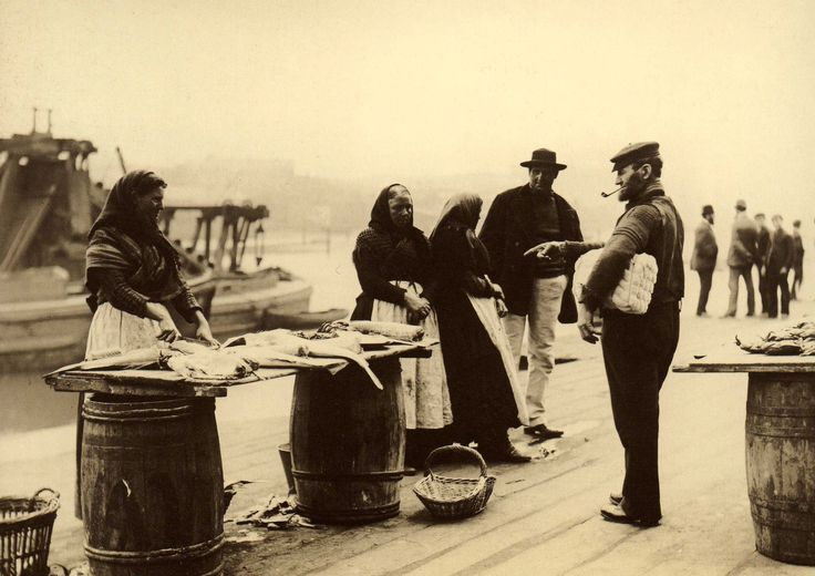 Fish stall on New Quay Road, Whitby, with Tom Gains his wife Dolly and Anna Ward - North Yorkshire - England - Late 1800s