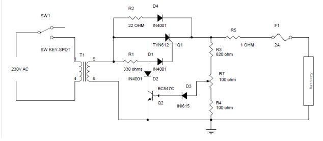 Battery Charger Circuit Using SCR Circuit Diagram  Source Page: http://www.electronicshub.org/battery-charger-circuit-using-scr/