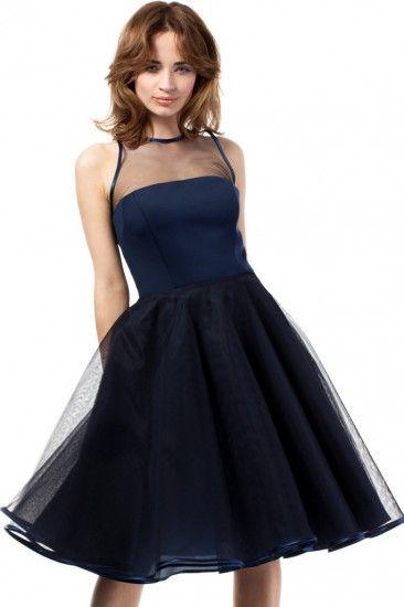 MOE Wieczorowa rozkloszowana sukienka midi z tiulowym karczkiem MOE148 granatowa