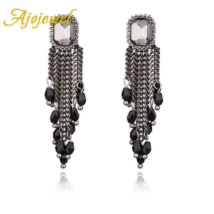 Ajojewel Antique Black Crystal Long Tassel Earrings Women Punk Jewelry For Party