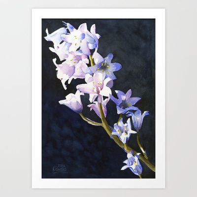 Bluebells Art Print by Powers Fine Art Watercolor Studio - $20.00