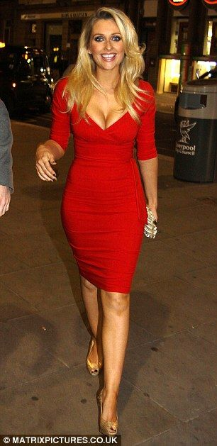 Gemma Merna, fabulous in this striking Red Long Sleeve Bandage Dress