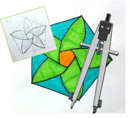 Art Using Basic Geometry Constructions with Compass and Straightedge