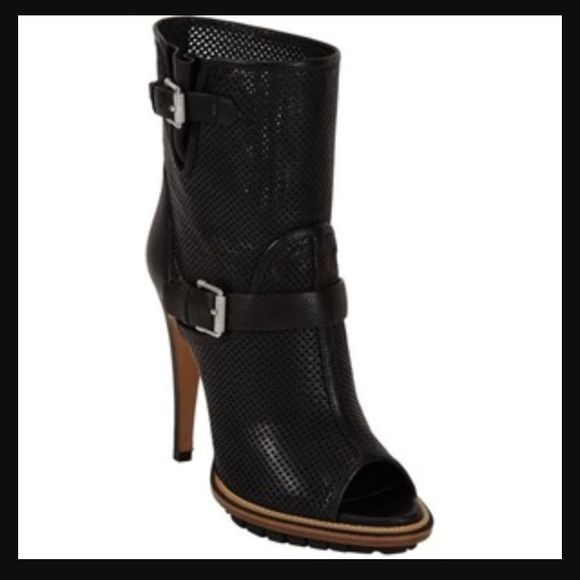 """Belstaff """"Croft"""" Perforated Boots Belstaff England """"Croft"""" diamond-perforated calfskin leather black peep toe ankle boots. Adjustable straps at ankle and top line, silver tone buckles with signature knurled detail, gusset at top line, pebble leather-covered heel. Pull on. Leather and rubber lug sole. Made in Italy. 4.75"""" heel, 20 mm platform. Approx. 6"""" shaft. Brand new, never worn. Comes with dust bag only. Size 37.5, best for US 7-7.5. Still for sale online for 375. Belstaff Shoes Ankle…"""
