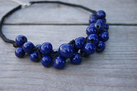 Navy blue ceramic necklace, beaded necklace, Handmade Ceramic, dark blue beads, dark blue necklaces, necklace for evening dress, by GlinianaKoniczynka