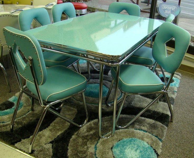 Turquoise vintage retro kitchen table dinette set. Are you looking for a vintage dinette but are having trouble finding just what you want? How about: Order a new dinette — made by a company using its original designs produced from 1949 to 1959. Yes: Acme Chrome Furniture Ltd. was established in March 1946 — and will celebrate 70 continuous years of business in two months! — …