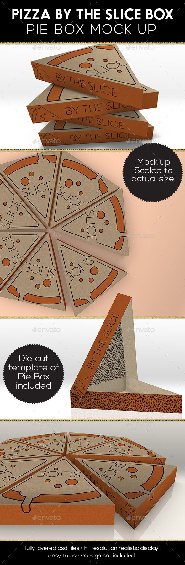 Packaging mockup Pizza or Pie Slice Box - Product Mock-Ups Graphics