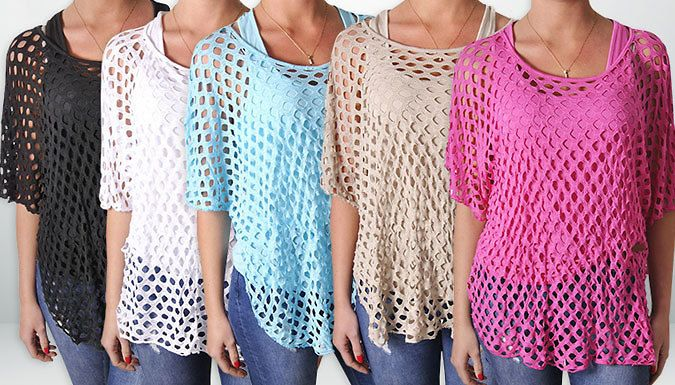 Buy: Summer Fishnet Batwing Top for just: £6.99 Available in a range of colours including stone, black or white      The top is one size fits all (UK sizes 8-14)      Features a soft jersey camisole insert      Made from 95% viscose and 5% elastin      Batwing sleeves will glide over your arms      It will look fantastic with both day and night outfits      Save 83% on the Crochet Top for 6.99 pound instead of 39.99 pound BUY NOW for just GBP6.99