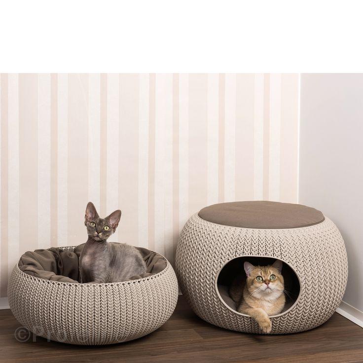 Cozy Pet Home - die Katzenhöhle von Curver in der Form eines trendingen Strick-Poufs. D   ie     moderne Katzenhöhle bietet ihrer Katze gleich 2 kuschelige Liegeplätze. Oben auf dem Pouf für einen guten...