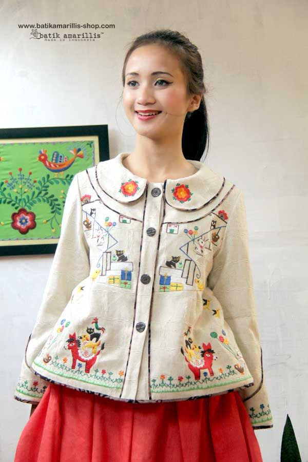 ♥ batik amarillis's west and girl embridery jacket♥ ...The western inspired is true staples that will suit and easily combined with your other outfits!. This American west yoked outfit style with adorable characters from November Books series from Japan, you can meet bunch of cute animals such as bunnies, ducks, dog, cat, donkey, rooster, owls and more!