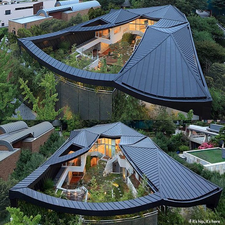 Modern Architecture Expressed In A Korean Home With A Cantilevered Roof