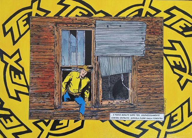 Tex (Broken Windows series) 2013 cm 25x35 #texwiller #comics #inkonpaper #acryliconpaper #workonpaper #drawing #illustration #brokenwindows #figurativeart #monacoart #paperpaint #paperart