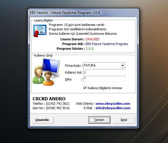EBS Fatura Yazdırma Programı v2.0.8 Cracklı Sürüm