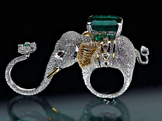 "I want this!! ""Emeralds for Elephants."" Love Ethical Mining here: http://www.worldlandtrust.org/news/2011/07/emeralds-elephants-migrates-india.htm and here: http://www.pink255.com/bling-emeralds-for-elephants/. #finejewellery #heirloom #elephants"