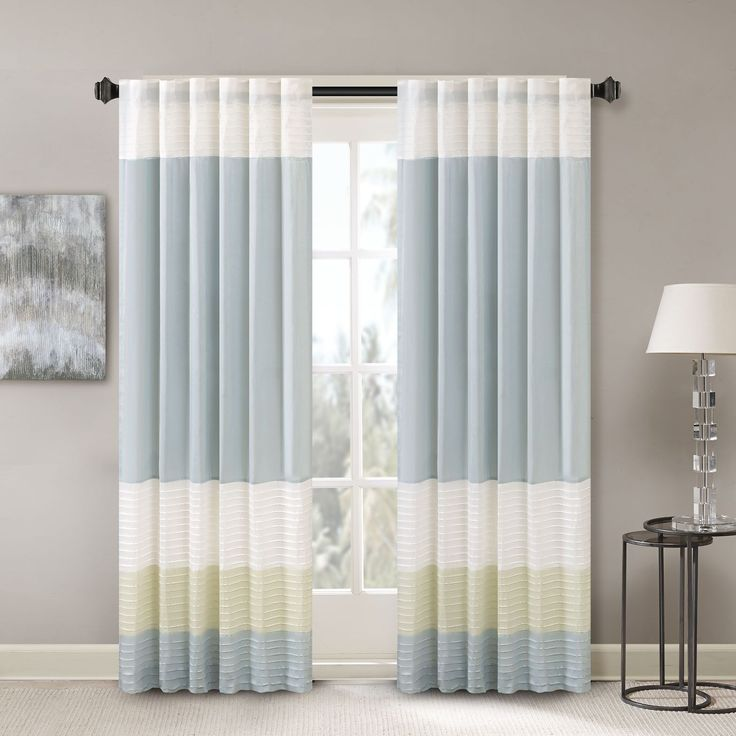 Madison Park Chester Polyoni Pintuck Curtain Panel (50x84-Green), Green, Size 50 x 84 (Polyester, Color Block)