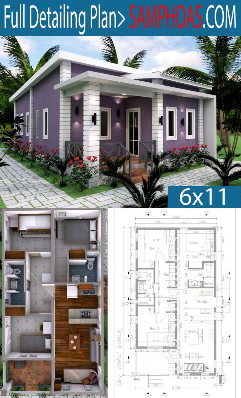 Low Budget 3 Bedrooms Home Plan 6x11 Rumah indah
