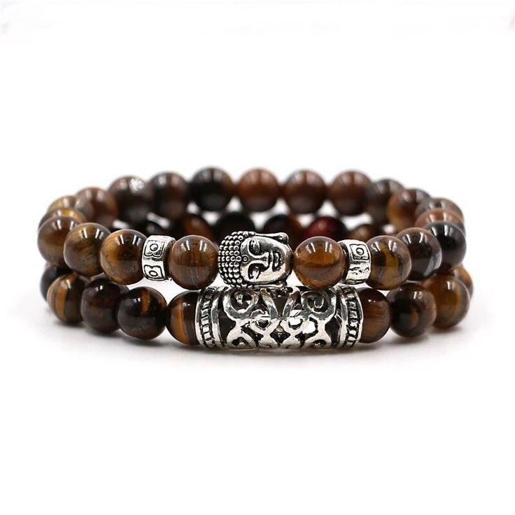 2 PC Crystal Coffee stone Buddha meditation Energy Bracelet
