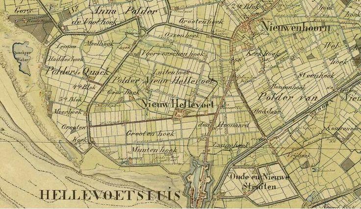 Oude kaart hellevoetsluis