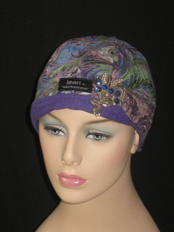 Cancer Hats for Chemo Hair Loss /Blue and Purple Peacock by hedart, $35.00