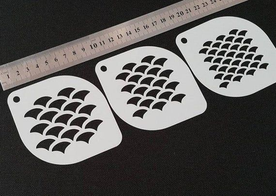 Set Of 3pcs Different Size Fish Scales Face And Body Airbrushing Paint Make Your Own Stencils Stencil Designs Stencils