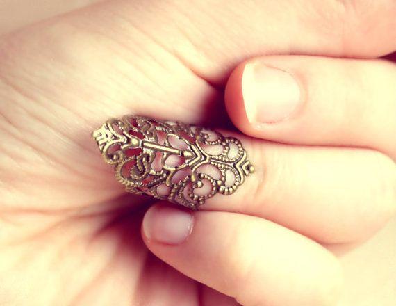 Ażurowy Pierścionek Vintage Retro Lace Nail Ring  w Kelly at large na DaWanda.com