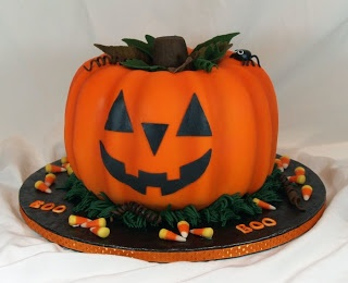 Pumpkin shaped cake using 2 bundt cake pans