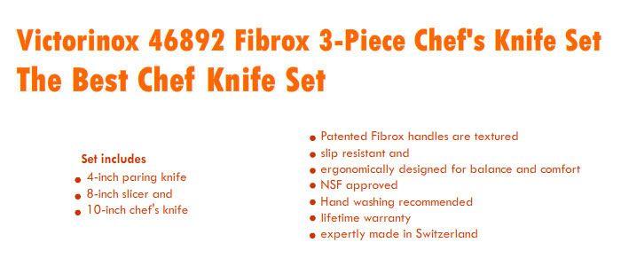 best chef knife set reviews 2016 victorinox 46892 fibrox 3 piece chef s knife set best. Black Bedroom Furniture Sets. Home Design Ideas