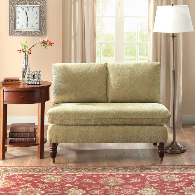 give your living area a new look with this red paisley loveseat the armless loveseat features a durable wood with paisley upholstery done in a