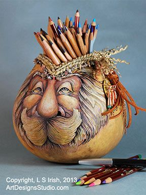 Free Gourd Painting Patterns | Mixed Media Techniques used in Wood Spirit Gourd Art by Lora S Irish