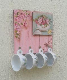 Dia das Mães - Porta Xícaras Floral Rosa