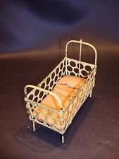 Antique Dollhouse Miniature Victorian Metal Baby Crib with Original Mattress