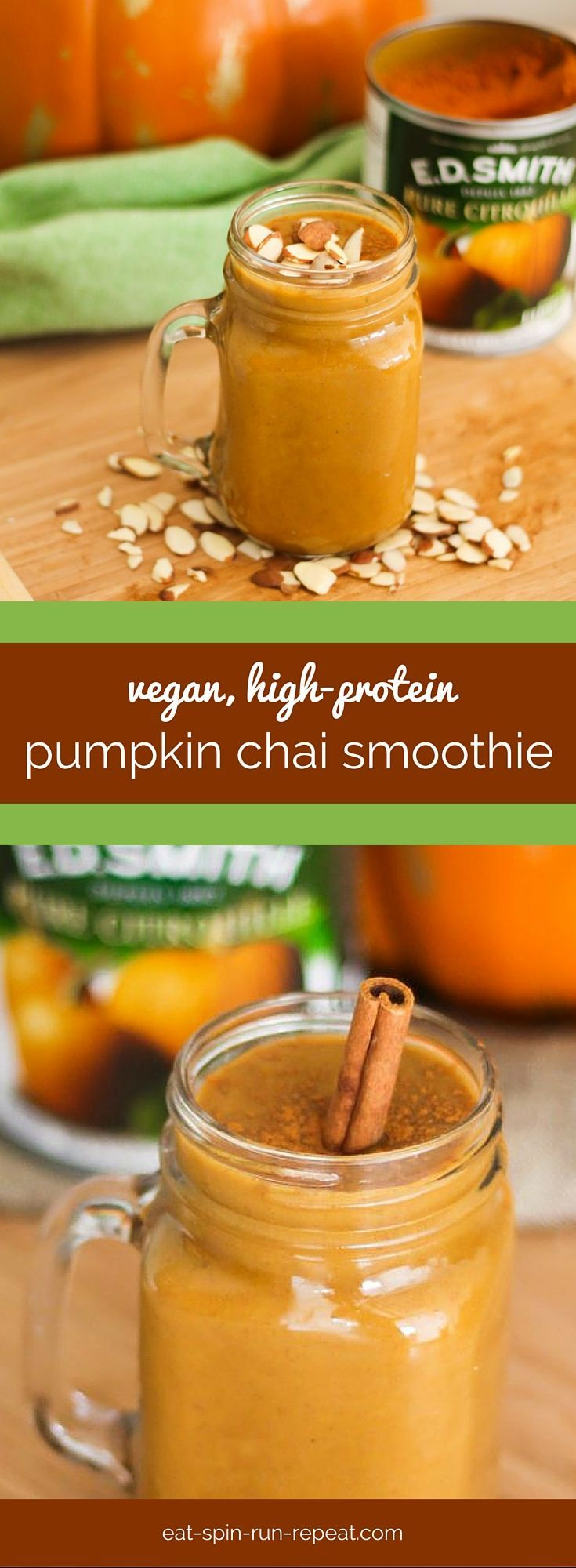Pumpkin Chai Smoothie - vegan, high in protein, and loaded with fall flavour!